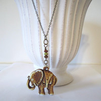 Elephant Necklace - carved with Czech glass beads by 636designs