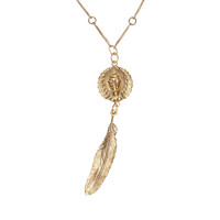 Round Native Goddess Feather Necklace
