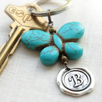 Personalized Keychain, Initial Keychain, Your Butterfly, Monogram Keychain, Wax Seal, Turquoise Jewelry, Gift for man or woman