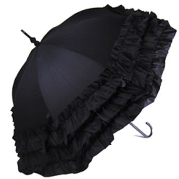 Ruffled Umbrella Black - Ladies Triple Frill Umbrellas