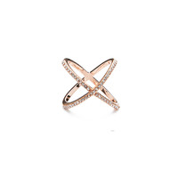 Pave Infinity X Ring - Rose Gold