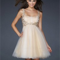 Short A-line Square Neckline with Appliques Pleated Tulle Prom Dress PD1807 Dresses UK