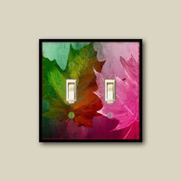 floral switch plate cover, fall leaf decor, leaf wall decor, light switch cover,  pink decor, autumn wall art