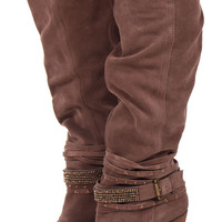 Tall Brown Suede Sparkling Strappy Boot