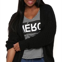 Plus Size Long Sleeve Cable Knit Oversized Cardigan with Open Front