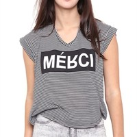 Short Sleeve Striped Dolman Muscle Top with Merci Screen