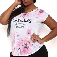 Plus Size Sleeveless Muscle Tee with Watercolor Floral Flawless Screen