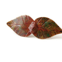 Copper Brooch with Pink Tourmaline, Rustic Leaf, Sterling Silver Pin, Copper jewelry, Metalwork