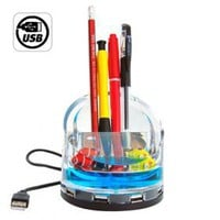 buy cheap 4 Port USB Hub With Illuminated Fish Tank + Pen/Phone Holder wholesale on China Gadget Land