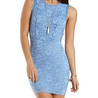 Lace Bodycon Dress with Open Sides by Charlotte Russe - Blue