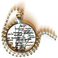 Virginia necklace, Franktown map pendant charm, 1 of 2 map jewelry styles