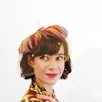 Vintage 1950s Fascinator - 50s Birdcage Veil - Yellow & Brown Feathers