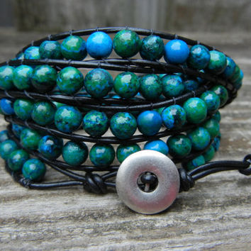Blue and Green Jasper Beaded Black Leather 5 Wrap Bracelet for Fall