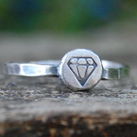 Diamond - Recycled Sterling Silver Stacking Ring  - Custom Size