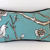Dwell Studio Lumbar Pillow Cover in Bird Fabric with Black Piping