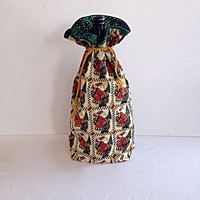 Christmas Fabric Lined Gift Bag with Drawstrings - Primitive Santa - Recycle, Reuse, Eco-Friendly