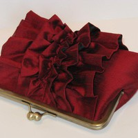 Ruffle Silk Dupioni Clutch In Black Cherry by mermaidsdream