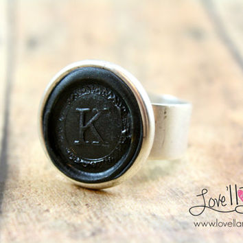 Wax Seal Hand-stamped Initial Ring | Classic Black | Adjustable Ring | Clay Initial