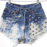 Vintage Levis 501 BLEACHED Tie Dye STUDDED High Waist Cut Off Shorts XXS