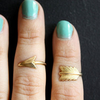First Knuckle Adjustable Arrow Ring Set