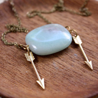 Shooting Arrows Amazonite Necklace - Hunger Games Katniss Inspired