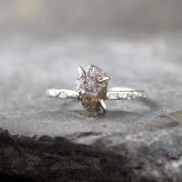One Carat Raw Diamond Engagement Ring - Sterling Silver Ring