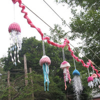 OOAK Crochet Jellyfish Garland.