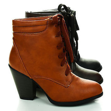 Grid4X Lace Up Padded Ankle Collar Chunky Heel Booties