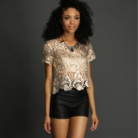 Ivory Foil Crochet Crop Top
