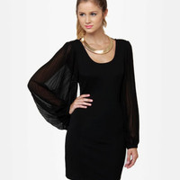 Little Black Dress - Long Sleeve Dress - Body-Con Dress - $48.00