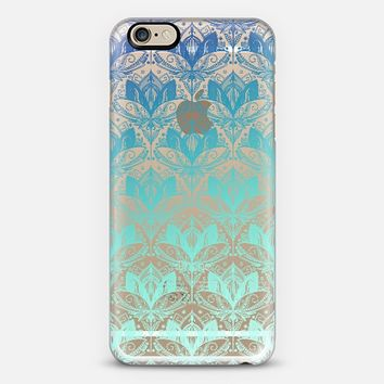 Lotus Blues - transparent Art Deco pattern in teal, blue & aqua iPhone 6 case by Micklyn Le Feuvre | Casetify