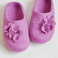 Felted slippers - Lilac flowers - Ready to ship (EU 39/ UK 6/ US 8,5)