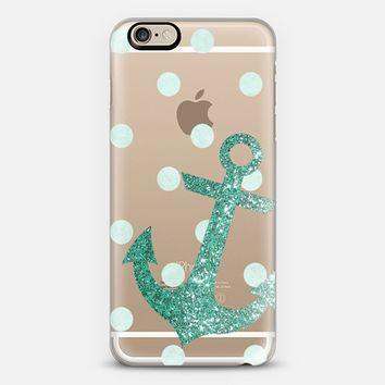 Glitter Anchor with dots in Mint iPhone 6 case by Nika Martinez | Casetify