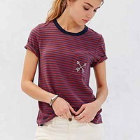 Truly Madly Deeply Embroidered Arrows Tee- Blue Multi