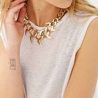 Bones + Feathers Fin Oversized Collar Necklace- Gold One