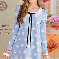 Peter Pan Collar Sweetheart Printing Blue Dress - Oasap High Street Fashion