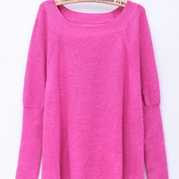 Long Sleeve Round Neck Sweaters Rose$46.00