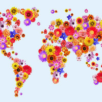 Flower World Map Canvas Art Print