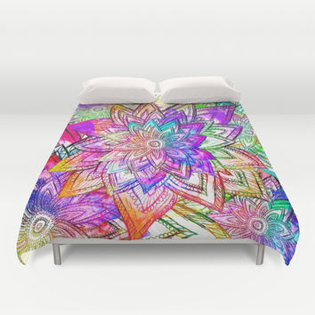 Psychedelic Neon Colorful Vintage Floral Pattern Drawing Watercolor Duvet Cover by Girly Trend