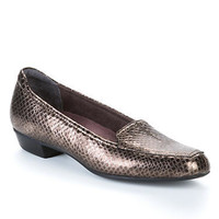 Clarks Timeless Crocodile Print Leather Flats Shoes 26066404 at BareNecessities.com