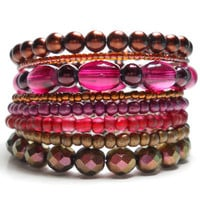 Memory Wire Bracelet Burgundy and Copper Stacked Bracelet Beaded Wrap Bracelet