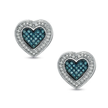 1/3 CT. T.W. Enhanced Blue and White Diamond Heart Earrings in Sterling Silver