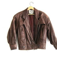 Vintage brown leather bomber jacket / soft leather coat // women's size M