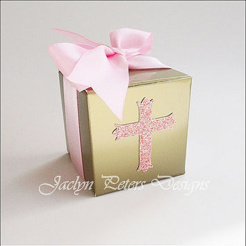 Communion Or Baptism, Gold Favor Box, Girls, Pink Glitter Cross, Double Satin Ribbon Bow, Candy Packaging, Rosary Bead Box, Set Of 25