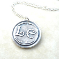 Initial wax seal necklace jewelry pendant personalized with initials custom made to order from recycled fine silver