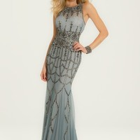 Beaded Neckline Dress with Illusion Back
