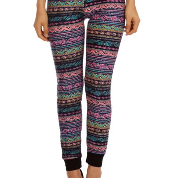 Geo Striped Knit Purple Joggers | Danice Stores