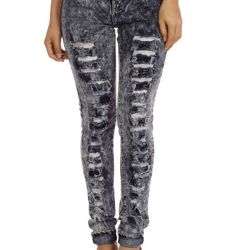 High Waist Acid Wash Distressed Skinny Jeans | Danice Stores