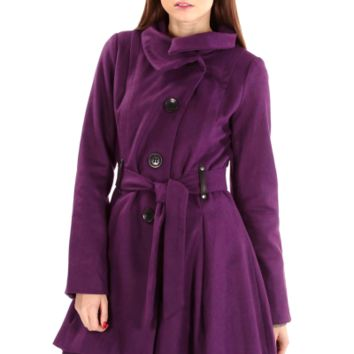 Eggplant High-Low Pea Coat | Danice Stores