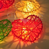 20 Mixed Colors Love Heart Rattan Wicker Romantic String Party,Patio,Fairy,Decor,Home,Christmas,Wedding,Bedroom Lights